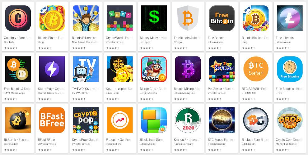 Многообразие приложений для заработка криптовалюты в Google Play Market