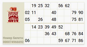 Идеальный билет, чтобы выиграть в Русское лото